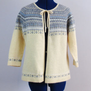 Angora Wool Blend Sweater Open Front Cardigan Med